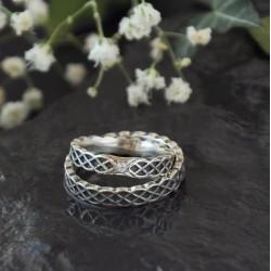 Keltské snubní prsteny úzké s diamantem Ag 925/1000 CENA ZA PÁR!