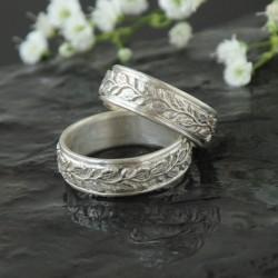 Dubové snubní prsteny bílé zlato Au 585/1000 CENA ZA PÁR!