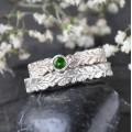 Dubové snubní prsteny úzké bílé zlato Au 585/1000 CENA ZA PÁR!