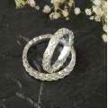 Keltské snubní prsteny úzké s diamantem bílé zlato Au 585/1000 CENA ZA PÁR!
