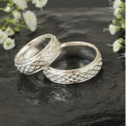 Keltské snubní prsteny bílé zlato Au 585/1000 CENA ZA PÁR!